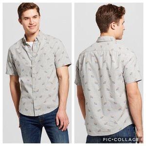 Grey Pride Flag Button Down Short Sleeve Shirt